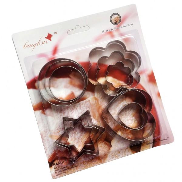 Комплект метални резци за сладки сърце звезда кръг цвете 12 броя