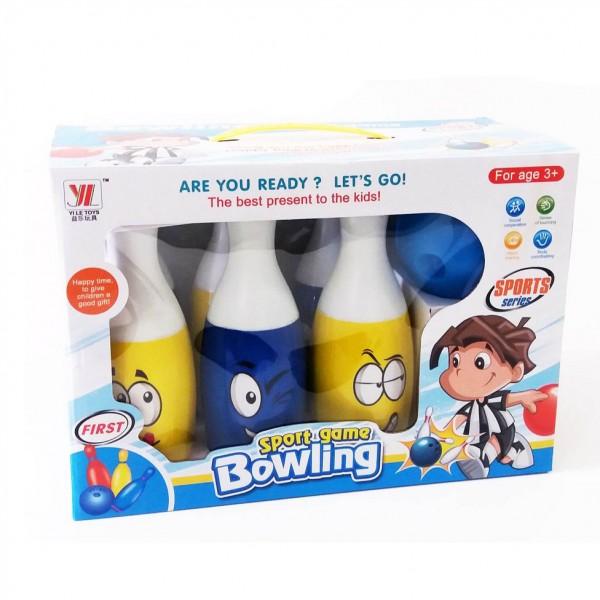 Комплект детски боулинг 6 кегли и топка за боулинг Усмивки 24см