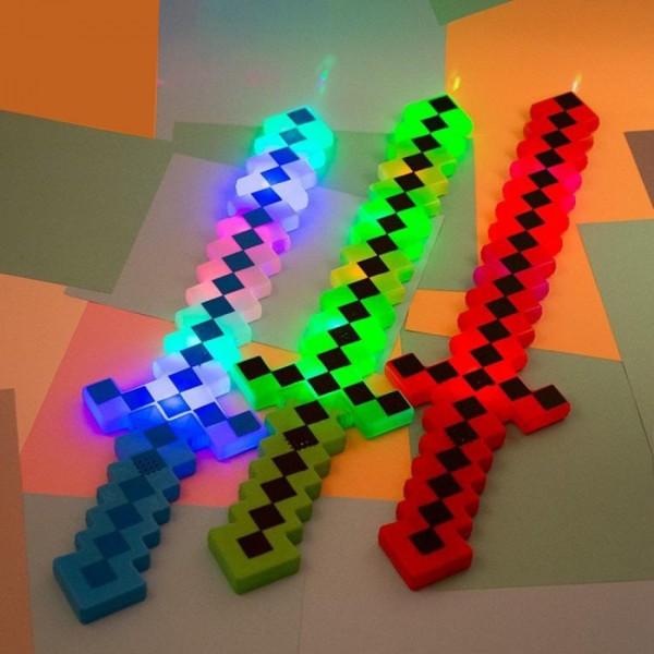 Голям светещ меч Майнкрафт играчка Minecraft със звук, 62 см