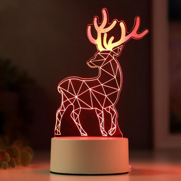 Декоративна 3D LED лампа Северен елен коледна украса